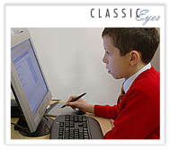 Photo of a boy using a computer