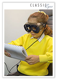 Photo of a girl taking an eye test
