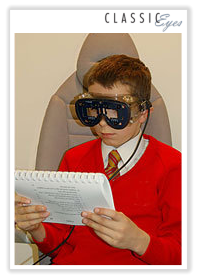 Photo of a boy taking an eye test