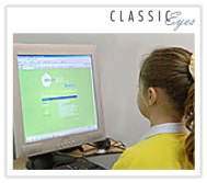 Photo of a girl using a computer